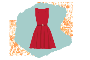 This minimal classic look is a red version of the little black dress. No patterns, just a simple boat neck that is sleeveless and cinches at the waist.