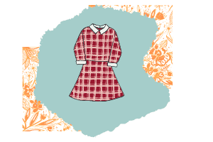 This classic cut dress is a cute essential piece. It's a long sleeved dress in a red plaid and white collar.