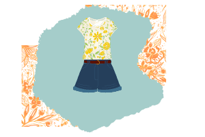 A classic wear can't be more simple than this look. A yellow floral t-shirt paired with a jean shorts and a belt.