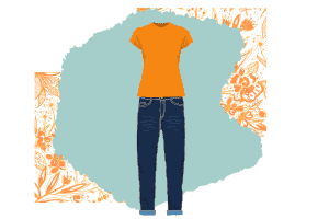 A modern classic fashion style, a simple mustard yellow t-shirt paired with blue jeans