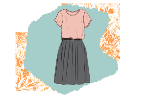 A simple classic style outfit with a casual pink t-shirt and a gray pleated skirt that goes below the knee