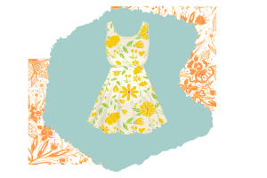 Vector of a tank top yellow floral dress