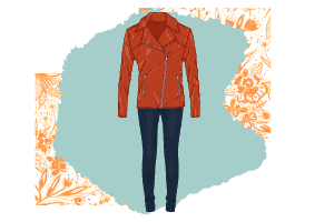 A vector a red leather jacket with dark pants