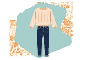 Vector of a sweater and jeans