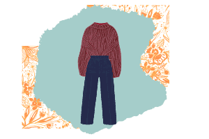 A vector of a puffy red sweater and high waisted pants