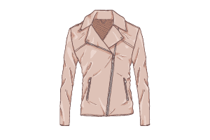A vector of a pale pink leather jacket with an-off-the-center zipper