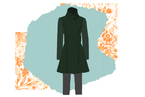 Two pieces that hugely part of a classic wardrobe - the perfectly fitted coat and grey slacks. The coat is army inspired with a high neck and green.