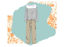 Two essentials for a classic wardrobe, a blue and white striped long sleeved shirt and a pair of beige pants.