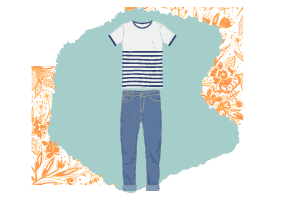 The quintessential classic look. A blue and white striped t-shirt and faded denim jeans.