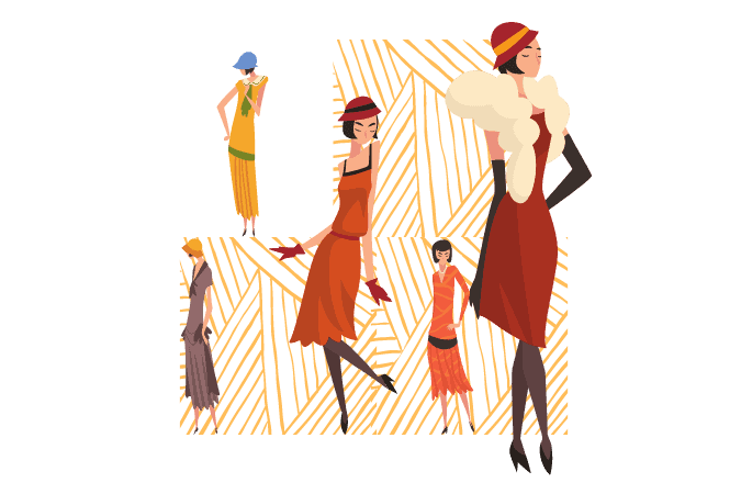 Vector pictures of different elegant women in dresses, hats and belts