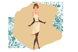 A vector of an elegant woman with a yellow dress and gloves