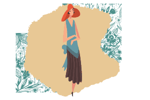 A vector of an elegant lady with a big floppy orange hat, longer brown skirt and a blue sleeveless top