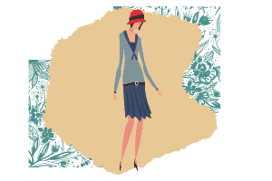 A vector of a blue outfit on an elegant woman with a cute little orange hat