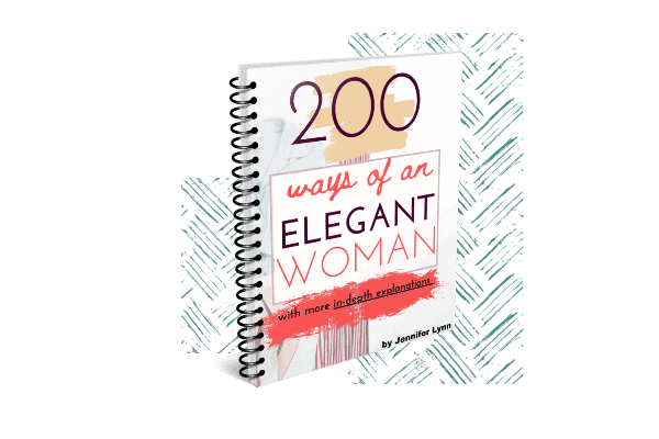 """A digital image of the eBook """"200 Ways of an Elegant Woman"""" in a spiral bound book. This is in front of a blue crisscrossed line background"""