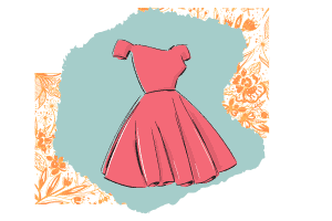 A classic style pink dress that falls off the shoulder and the dress cinches at the waist and falls around the knee