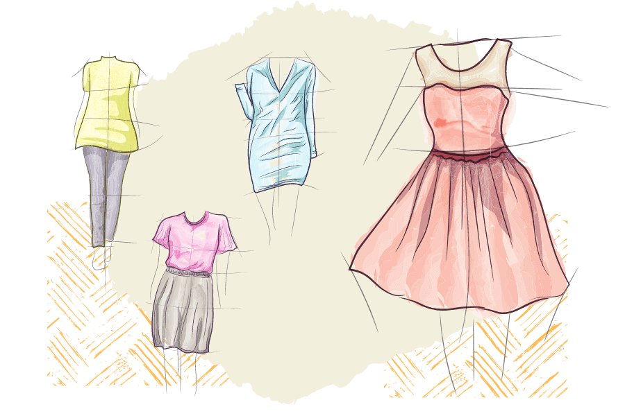 Four sketches of classic dress styles and outfits
