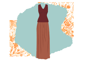 This classically chic outfit with a long brown maxi skirt and a deep red sleeveless V-neck shirt